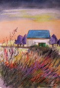 Nature Scene Drawings Prints - Sunset Grasses Print by John  Williams