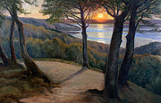 Woods; Shadows; Trees Paintings - Sunset by Hans Agersnap