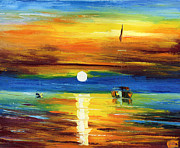 Amor Paintings - Sunset Harbor by Ash Hussein