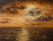 Sun Behind Clouds Painting Posters - Sunset Poster by Helen Tatum