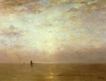 Boats Painting Posters - Sunset Poster by Hendrik William Mesdag