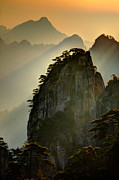 Pinnacle Framed Prints - Sunset Huangshan Mountain Framed Print by Eggers   Photography