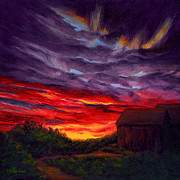 Path Painting Originals - Sunset II by Elaine Farmer