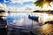 Puerto Rico Photo Posters - Sunset in a Fishing Village Poster by George Oze