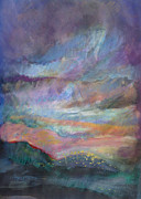 Vibrant Colors Pastels Prints - Sunset in Efrat Print by Bryna La