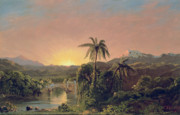 Sunset In Mountains Posters - Sunset in Equador Poster by Frederic Edwin Church