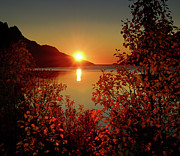 Landscape Tapestries Textiles Prints - Sunset In Ersfjordbotn Print by John Hemmingsen