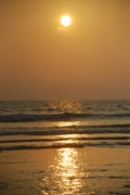 Rust Pyrography Metal Prints - Sunset in Goa Metal Print by Reshmi Shankar