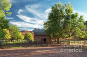 Old Cabins Prints - Sunset in Grafton Ghost Town I Print by Sandra Bronstein