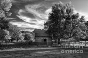 Old Cabins Art - Sunset in Grafton Ghost Town by Sandra Bronstein