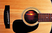 Music Posters - Sunset in guitar Poster by Garry Gay