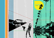 Graphics Digital Art Posters - Sunset in LA Poster by Irina  March
