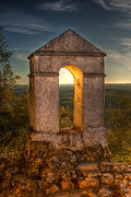 Gabor Pozsgai Metal Prints - Sunset in Monfrague Castle Metal Print by Gabor Pozsgai