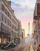 Paris Paintings - Sunset in Paris by Irina Sztukowski