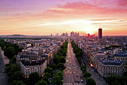 Sky Light Posters - Sunset In Paris Poster by Pink Pixel Photography