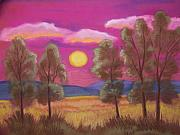 Pink Sunset Pastels Posters - Sunset In Pink Poster by Cynthia Riley
