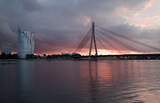 Storm Clouds; Sunset; Twilight; Water Metal Prints - Sunset in Riga Metal Print by Claudia Fernandes