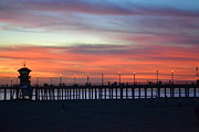 Pier Pyrography Prints - Sunset in San Diego Print by Karen Becker