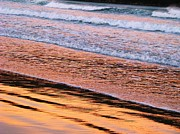 Whangamata Art - Sunset in Sand and Waves by Michele Penner