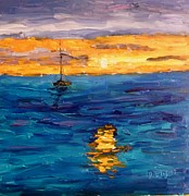 Sailboats In Water Painting Posters - Sunset in St Croix Poster by Diane Elgin