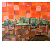Milton Keynes Prints - Sunset in the city Print by Zbigniew Rusin