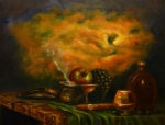 Outdoor Still Life Painting Prints - Sunset in the Country Print by MM Zurahov