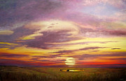 Prairie Sunset Paintings - Sunset in the Flint Hills by Rod Seel