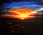 Key West Drawings - Sunset in the Keys by Kami Catherman