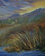 Rockies Paintings - Sunset in the Mountains by Joanne Smoley