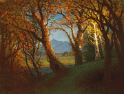 Autumn Landscape Painting Prints - Sunset in the Nebraska Territory Print by Albert Bierstadt