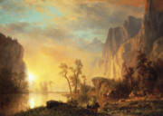 Mountain Reflection Posters - Sunset in the Rockies Poster by Albert Bierstadt