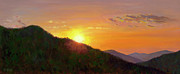 Smokey Mountains Paintings - Sunset in the Smokies by Christa Eppinghaus
