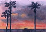 Clouds Sunset Painting Prints - Sunset In The Tropics Print by Arline Wagner