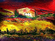 World No. 1 Paintings - Sunset in Tuscaney by Andreas Wemmje