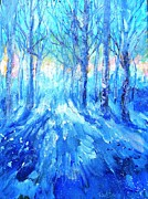 Snowy Trees Paintings - Sunset in Winter Wood  by Trudi Doyle