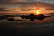 Featured Metal Prints - Sunset In Yachats Oregon Metal Print by Kami McKeon