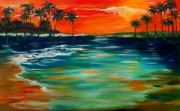 Tropical Sunset Originals - Sunset Island by Linda Olsen