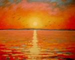 River Greeting Cards Prints - Sunset Print by John  Nolan
