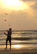 Juggling Photo Prints - Sunset Juggling Print by Stav Stavit Zagron