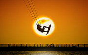 Kiteboarding Art - Sunset Kite Boarder by Moments In 3 X 4