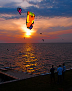 Rodanthe Prints - Sunset Kiteboarding on the Pamlico Sound Print by Anne Kitzman