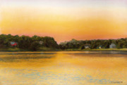 Massachusetts Pastels Posters - Sunset Lake Poster by Joan Swanson