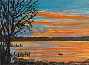 Lakescape Tapestries Textiles - Sunset Lake by Pete Maier