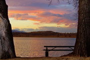 Office Art - Sunset Lake Picnic Table View  by James Bo Insogna
