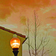 Roof Digital Art Prints - Sunset Lantern Print by Ben and Raisa Gertsberg