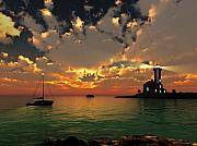 Sunset Seascape Digital Art Prints - Sunset Lighthouse Print by Jim Coe