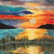 Felting Prints - Sunset Loch Print by Gina Barakov