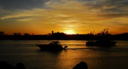Boats At Dock Prints - Sunset Long Beach C.A. Print by Valerie H