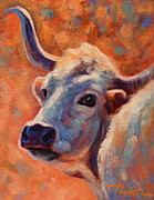 Cow Metal Prints - Sunset Longhorn Cow Metal Print by Theresa Paden