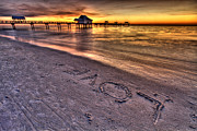Clearwater Beach Posters - Sunset Love Poster by Scott Mahon
